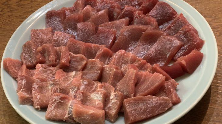 まぐろ2.5kg 漬け・刺身・そぼろ・煮付けで食べる!!