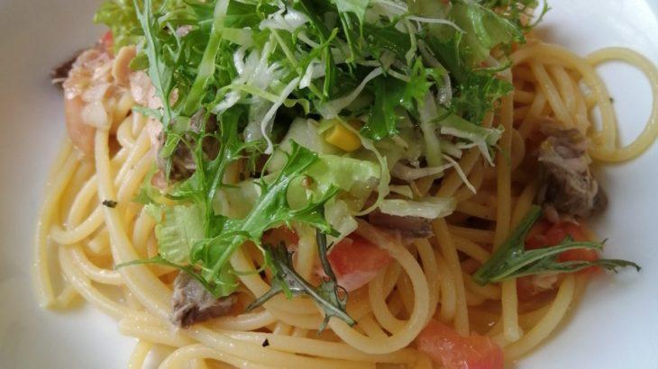簡単! 冷製パスタ ツナとトマトとオニオンスライス
